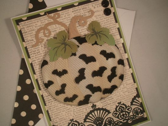 White Pumpkin - Handmade Halloween Card with Embellished Envelope