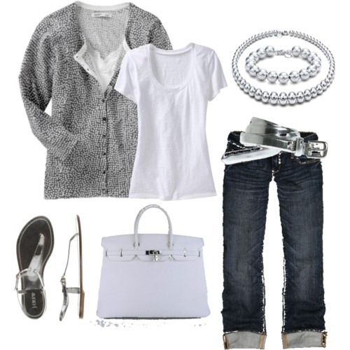 #color #silver white #jeans #leather #bag #fashion #accessories