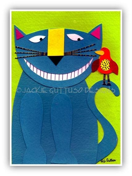 Cat art Original 5 x 7 collage Cat by JackieGuttusoDesigns on Etsy, $30.00