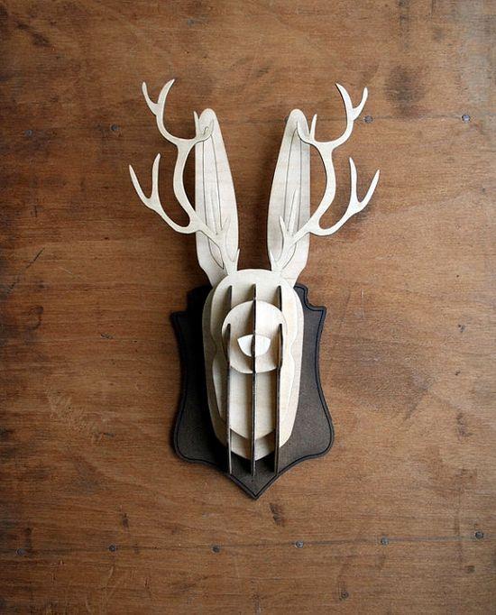 Wooden jackalope head by treeswithknees on Etsy
