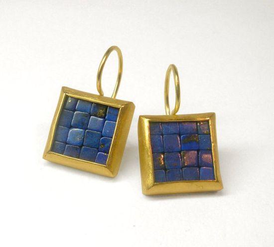 Mosaic Earrings  Gold & Lapis Lazuli by Artesserae on Etsy, $1450.00