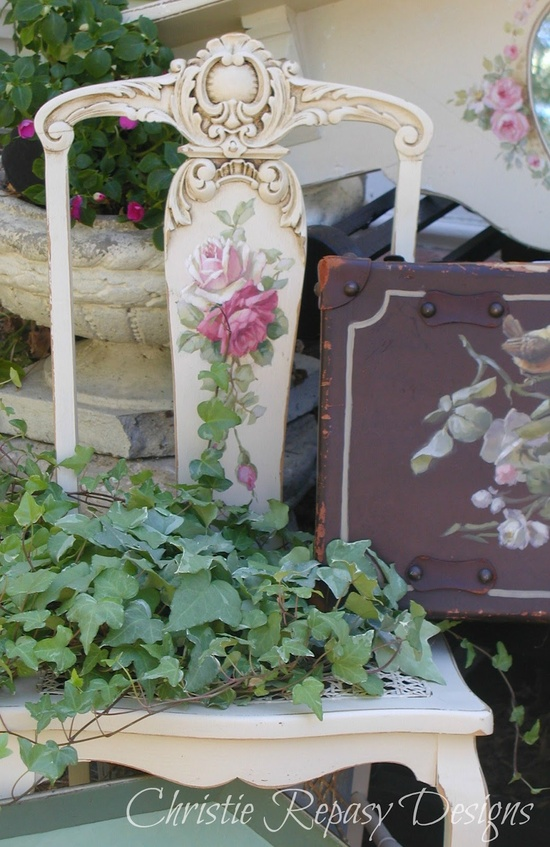 painted vintage chair/planter ~ C.Repasy