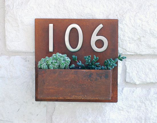"Metal Address Plaque and Succulent Wall Planter  - 12"" x 12"" Square with (3) Satin Nickel Address Numbers & Free Shipping #Want"