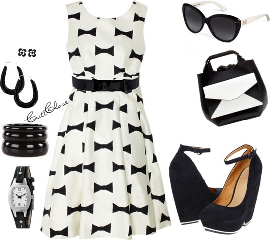 """Bow Tie Dress"" by cuttclose ❤ liked on Polyvore"