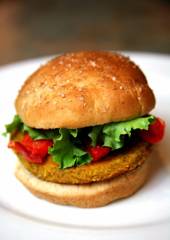 spicy quinoa, sweet potato, and chickpea veggie burger! 200 calories with the bun!