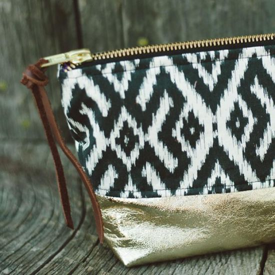 Gold Leather Cosmetic Bag