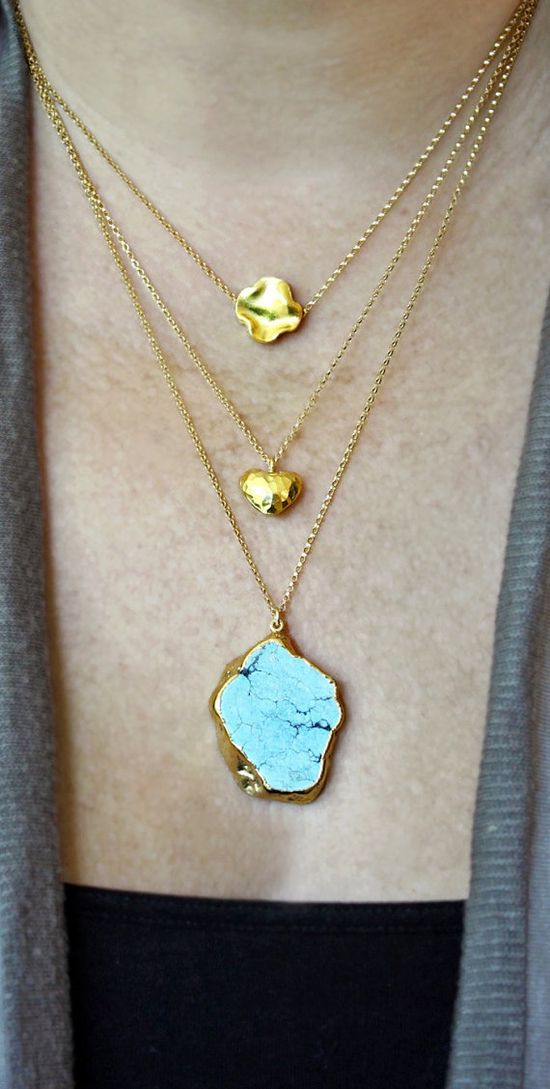 layered gold + turquoise