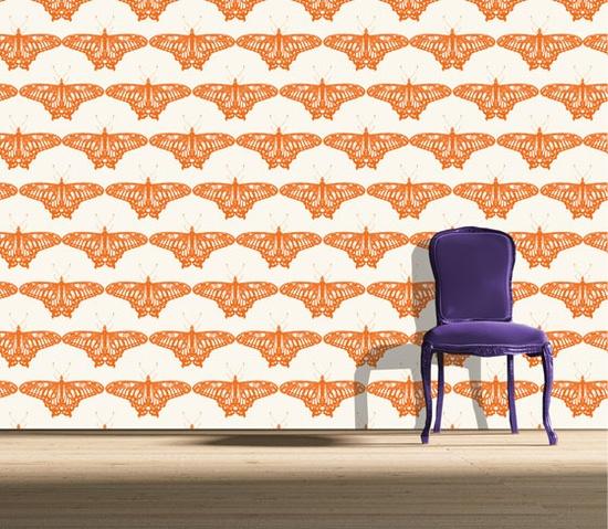 butterfly gem - orange - nonwoven wallpaper 72cm wide