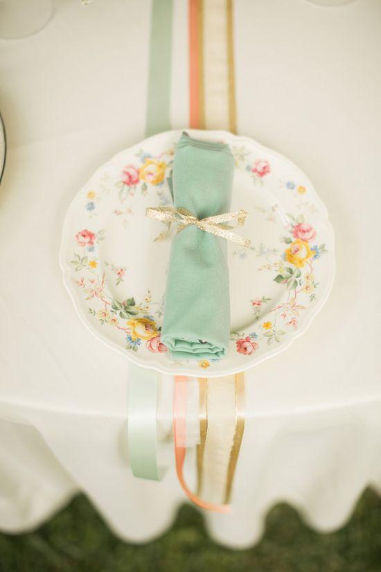 floral plates + ribbons // photo by Mustard Seed Photography // View more: ruffledblog.com/...