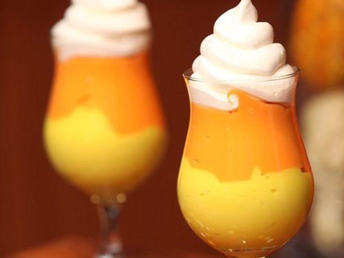 Candy corn drinks. Yummy and cute :)