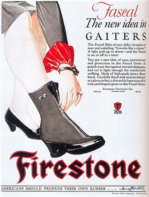 Firestone Footwear ad, 1926. #vintage #1920s #gaiters #shoes #over_shoes