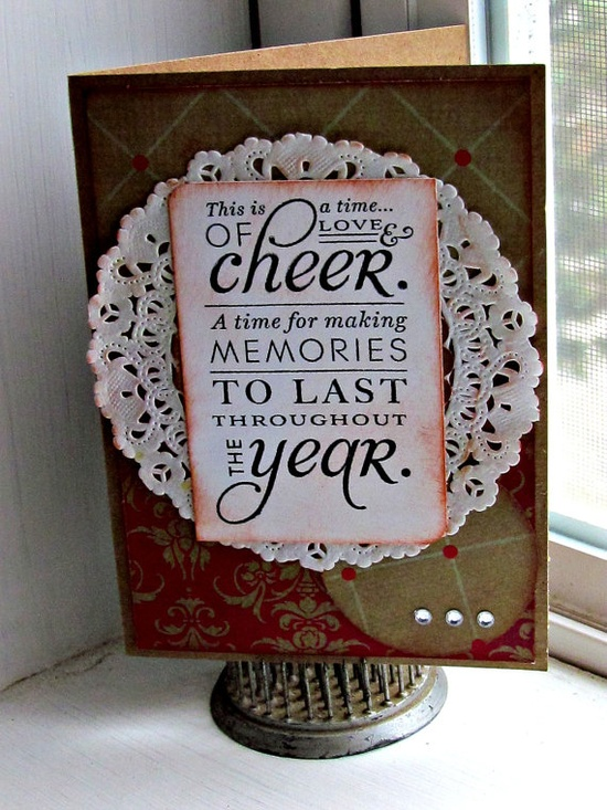 doily on a handmade Christmas card