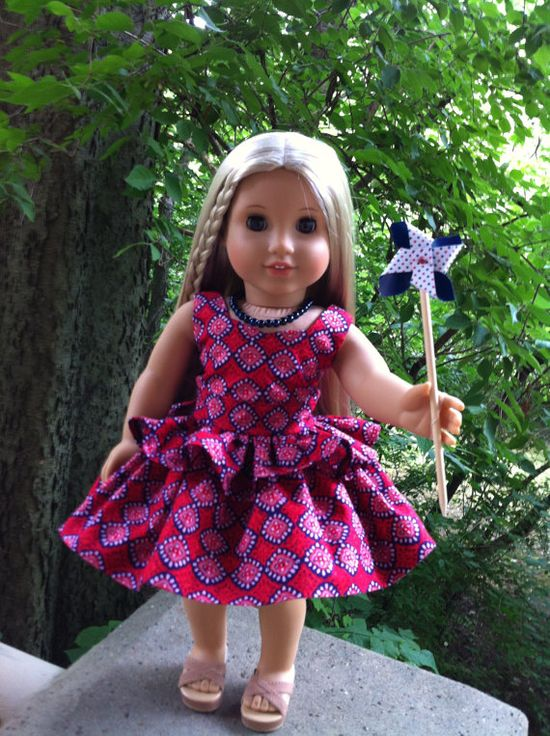 American Girl Doll Clothes Custom Couture Red White and Blue Dress Constructed Using a Liberty Jane Pattern,  and a Handmade Necklace