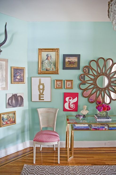 Caitlin Wilson Design: Green blue walls paint color, eclectic art gallery, vintage Baker console table, white ...