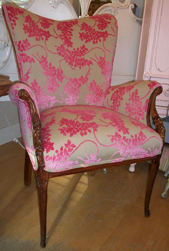 Valentine Shaped Antique Carved Accent Chair with Stunning Designer Hot Pink Cut Velvet Upholstery