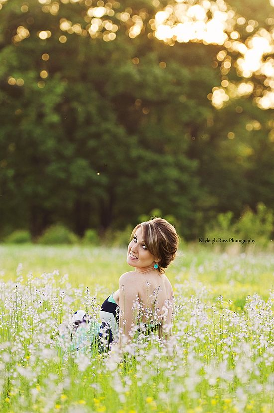 Girl Pose Field Flowers Backlight