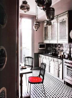 #kitchen #interior #design #black and white #lighting #checkered #floors