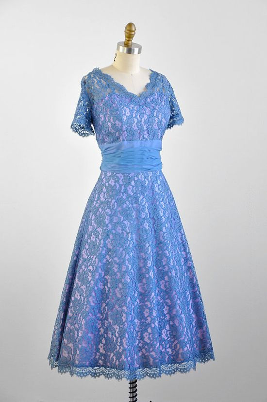1950s dress / 50s lace dress / Blue and Lavender Lace Dress with Silk Chiffon Waistband. Love lavedner.
