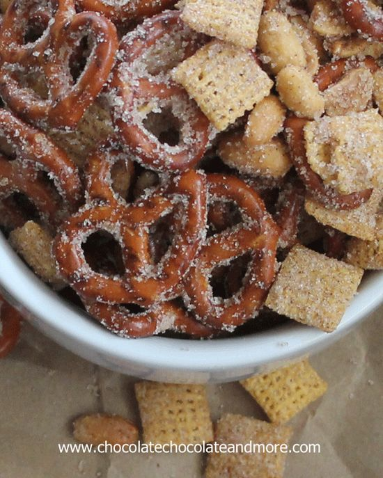 Need to clean out the snack cabinet? Try making this Sweet Salty Cinnamony Pretzel Snack Mix