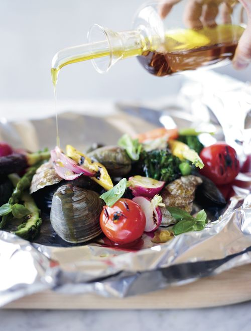 Grilled Shellfish and Vegetables al Cartoccio // More Amazing Grilled Seafood: www.foodandwine.c... #foodandwine