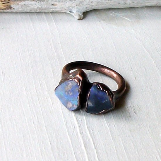 Copper Opal Ring Lightning Ridge Stone October Birthstone Natural Raw Gemstone Artisan. $75.50, via Etsy.