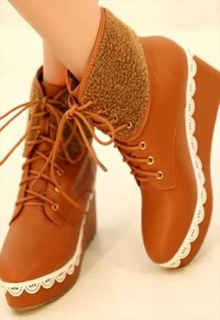 Elegant Lace Work Design Wedge Boots in Brown