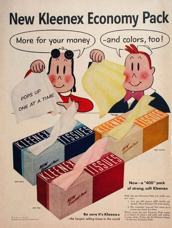 A fun Little Lulu 1950s Kleenex ad. #vintage #1950s #ads