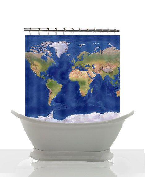 Decorative Shower Curtain - Modern World Relief Map - lapis blue oceans, atlas, shower, hoe, bathroom, decor