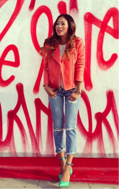 coral moto jacket with mint ankle strap heels!