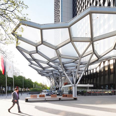 { Create shelter that also serves as a water collection system for brown water use. } WestendGate by Just Burgeff architekten + a3lab. #architecture #design #urbandesign #urbanplanning