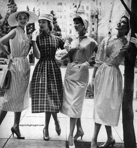 Four wonderfully classic, completely wearable 1950s summer dresses (I think the plaid one is my fave at the moment). #vintage #women #dress #hat #sundress #summer #1950s #fashion