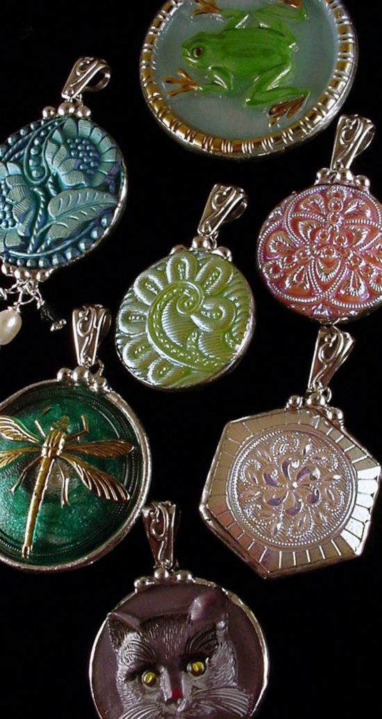 Dishfunctional Designs: Vintage Bohemian Czech Glass Buttons made into Jewelry