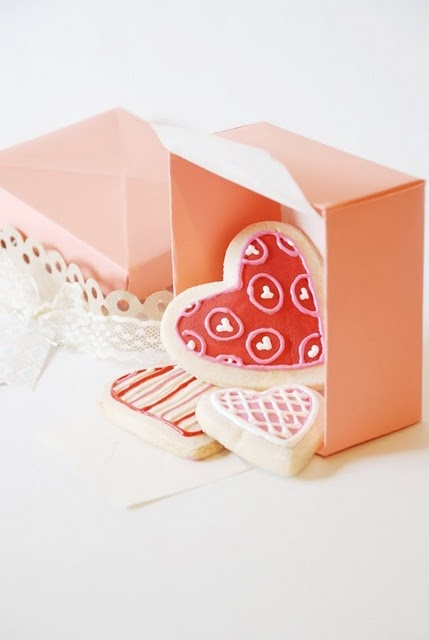 frilly Valentine Heart Cookies