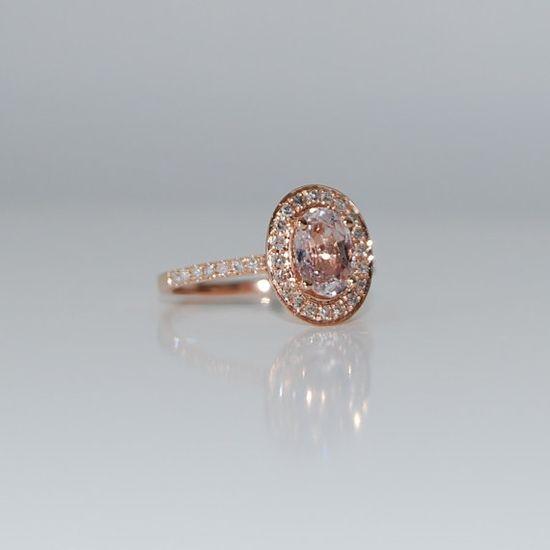 Oval Peach Champagne Sapphire Diamond Ring 14k rose gold