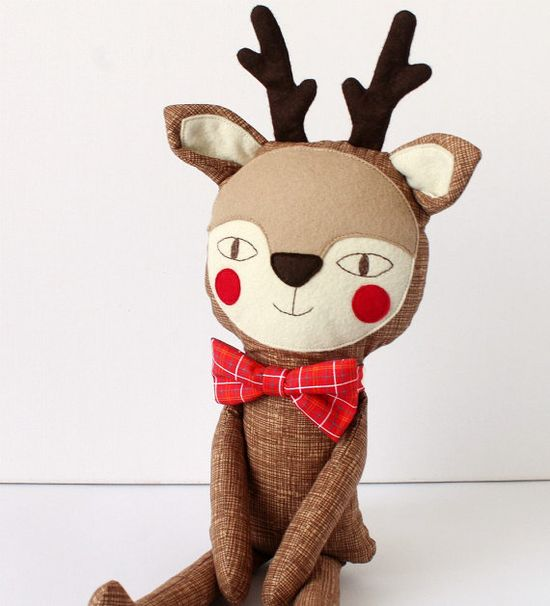 Reindeer  Stuffed animal toy for children with a lovely by blita, $48.00