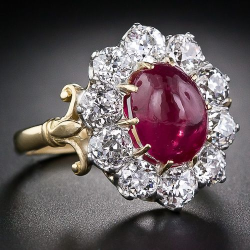 Victorian Burmese Ruby and Diamond Cluster Ring