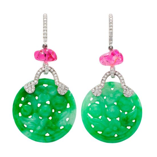 Pair of Jade and Spinel Earrings