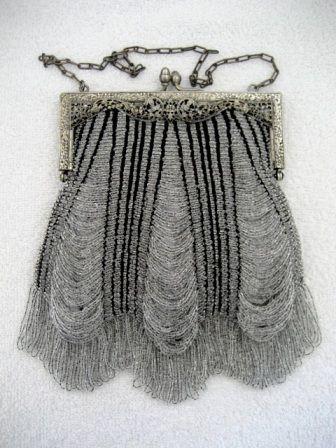 Vintage Knit Beaded Crystal Purse