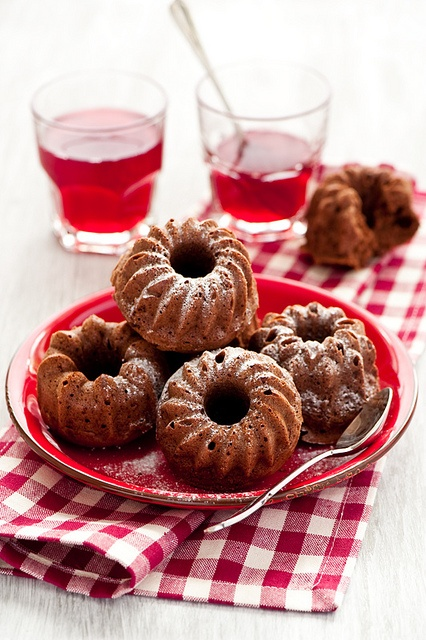 Terrific little Chocolate Bundt Cakes - I'd be tempted to drizzle these with a mocha ganache for extra pizzazz. #cake #food #chocolate #food #bundt #baking