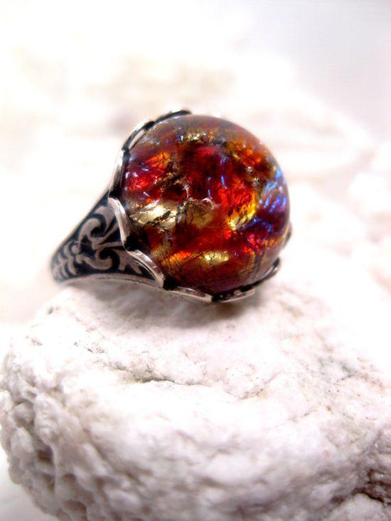 vintage Czech faux opal glass ring ( Etsy:: www.etsy.com/... )