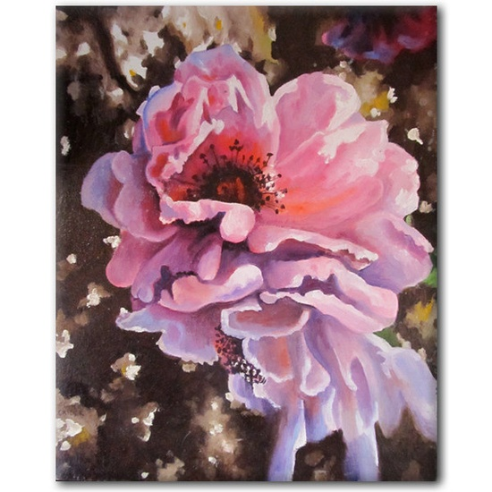 SFA 9x11 Pink ROSE oil painting original small stretched canvas art ready-to-hang. $85.00, via Etsy.