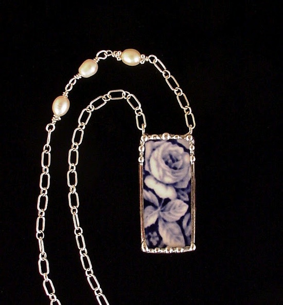Broken China necklace by Laura Beth Love - antique Flow Blue china, sterling chain with freshwater pearls