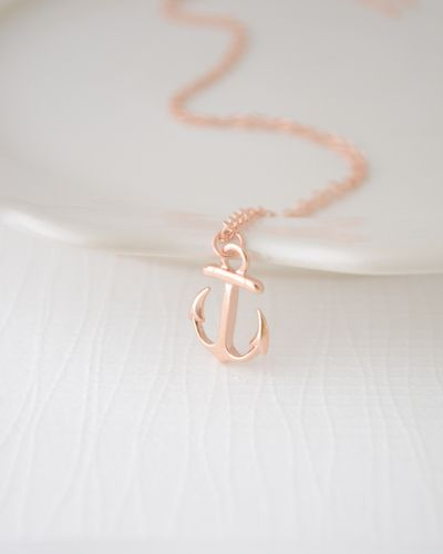 Tiny Rose Gold Anchor Necklace