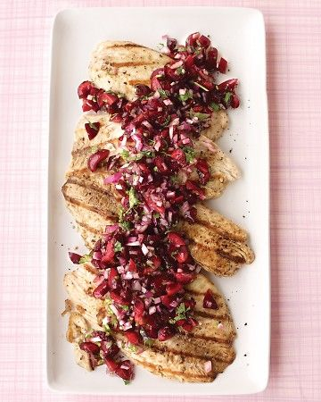 Grilled Tilapia with Cherry Salsa / Martha Stewart  #recipes