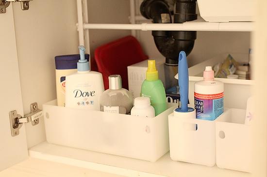 Great organizing under bathroom sink!