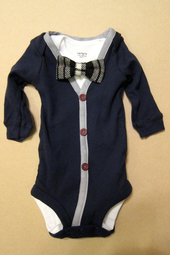 Baby Boy Outfit - Blue/Gray Cardigan & Onesie with Removable Black/White Plaid Bow Tie via Etsy