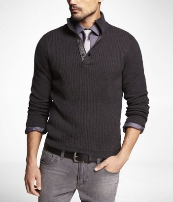 Fall 2012 Fashion - Snap Mock Neck Sweater at Express
