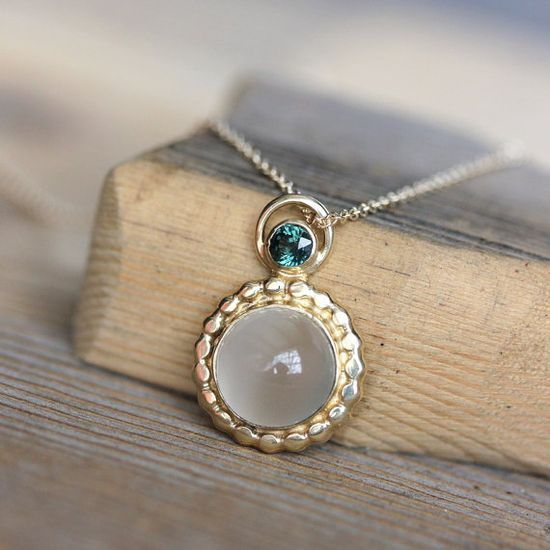 Green Sapphire White Moonstone and 14k gold by onegarnetgirl, $798.00