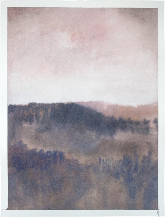 Original gouache painting abstract italian landscape