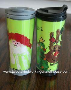Handmade Gift Idea – Handprint/Footprint Santa, Reindeer, & Christmas Tree Coffee Mug